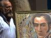 0016 El pintor cubano Ever Fonseca devela un cuadro de Bolívar, que donó al museo.