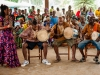 taw_2 From left to right: Elvira Fumero Añí, Yandrys Izquierdo, Humberto Casanova and Alfredo Duquesne drumming in Banta Mokele at their official welcome by the Paramount Chief Tommy Jombla.