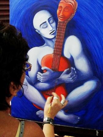 Havana painter Marcia Beatriz Diaz Amador in her studio/workshop.