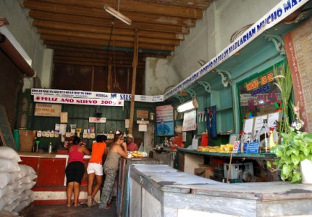"""The """"bodega"""" store where Cubans buy their rationed basic products."""