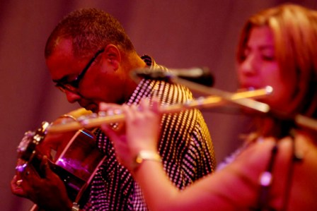 Bass guitar player Caesar Bacaro and flautist Isabel Cristina Perez Garcia with the Maykel Quartet