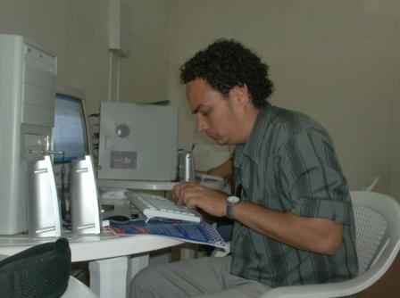 Osmel Almaguer during this year's Cuba Book Fair.