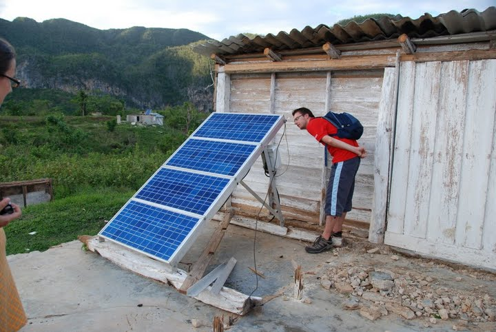 Solar panel located in a farm in western Pinar del Rio province