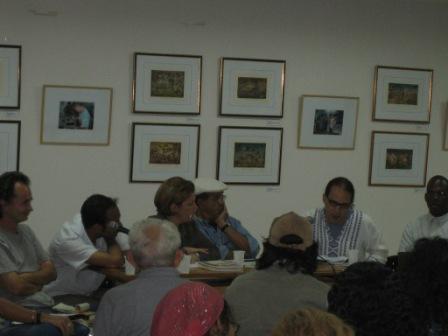 "Left to right: Dmitri Prieto, Pável Alemán, Celia Hart, Tato Quiñones, Hiram Hernández, Carlos Simón. Backs: León Ferrera and Andrés Mir.  (UNEAC, March 12, 2005, at the symposium ""The Other Legacies of October."")"