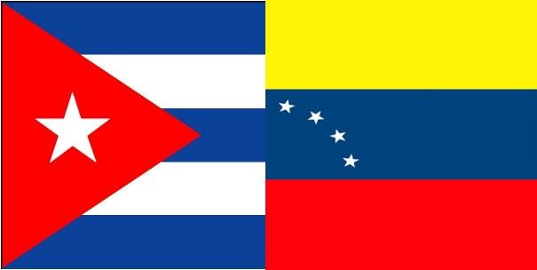Las banderas de Cuba y Venezuela.