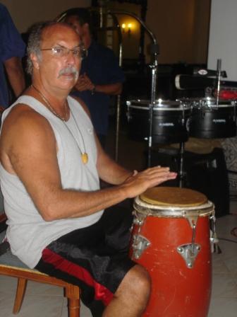 Patrick Velasquez playing congas in Havana.
