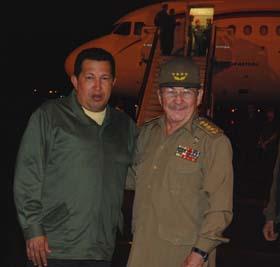 Hugo Chavez y Raul Castro en La Habana.
