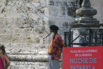 At the Cathedral Plaza in Old Havana.