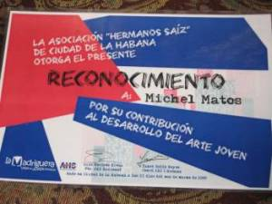 Certificate of recognition to Michel Matos signed by AHS president Luis Morlote.