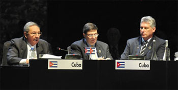 Cuban President Raul Castro, Foreign Minister Bruno Rodriguez and VP Miguel Diaz-Canel at the CELAC Summit in Santiago de Chile.