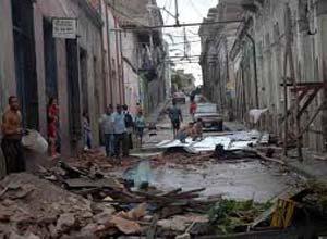 Rubble of damaged buildings after Hurricane Sandy in Santiago de Cuba.
