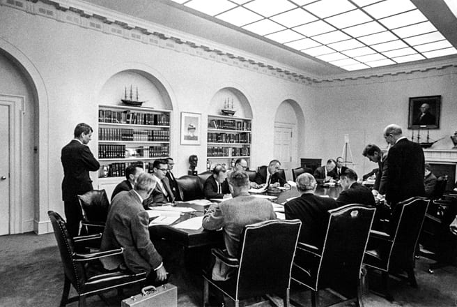 Robert Kennedy at an Executive Committee meeting during the Cuban Missile Crisis