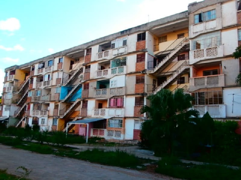 Socialist style apartment building.