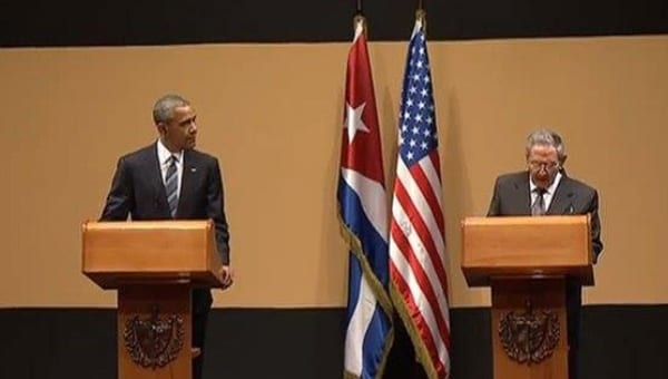 Obama and Raul Castro at their press conference in Havana on March 21, 2016.