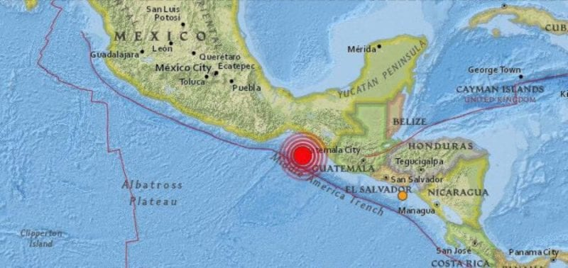 map showing the center of the 82 earthquake off the coast of chiapas mexico graphic noticaribecommx